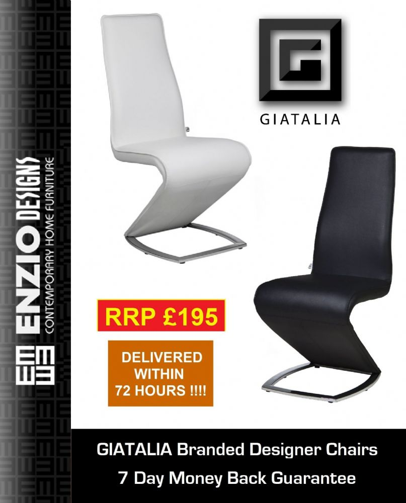 Z II - NEW EDITION Designer White Leather Dining Chair / Chairs